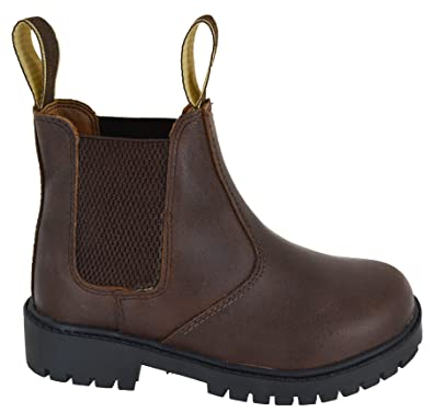 b29cd3cfead5f EYESONTOES Boys Kids Leather Chelsea Dealer Ankle Boots Pull On Childrens  Brown Shoes Size  Amazon.co.uk  Shoes   Bags