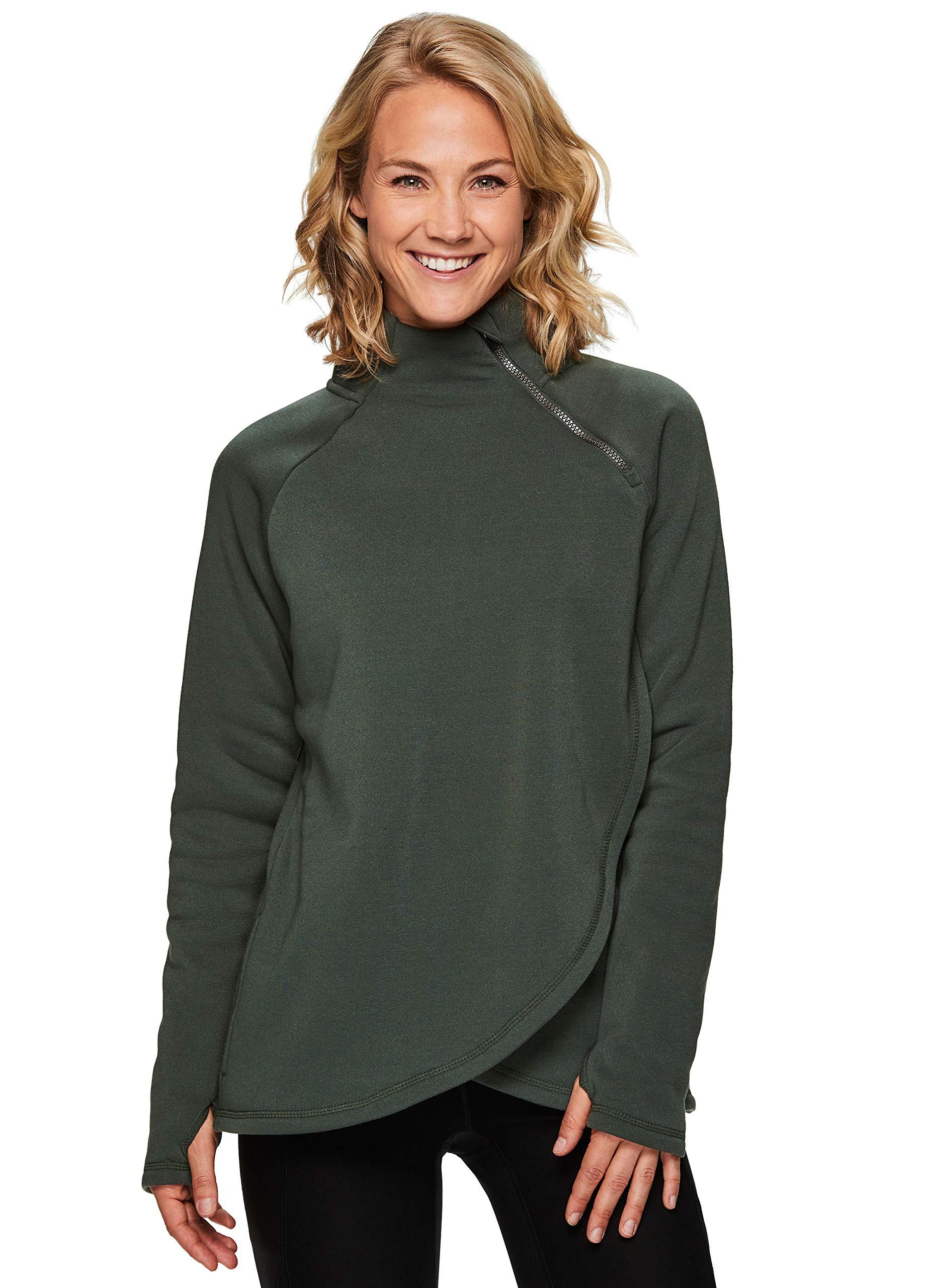 RBX Active Women's Zip Mock Neck Long Sleeve Fleece Pullover Sweatshirt F19 Olive Green M by RBX