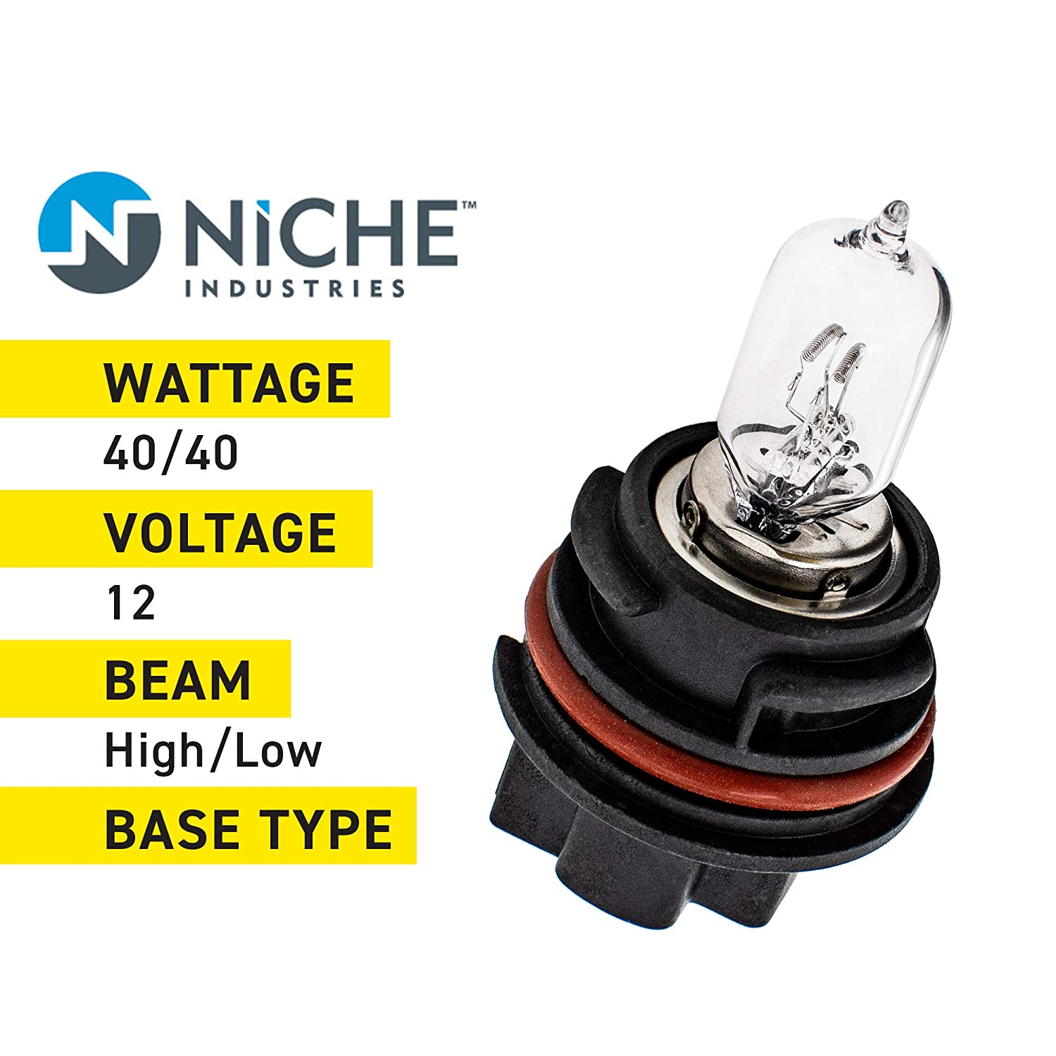 NICHE Headlight Bulb For 2006-14 Kawasaki Brute Force 750 650 Suzuki Vinson 500 Quadsport Z400 Z250 Can-Am DS250 2 Pack