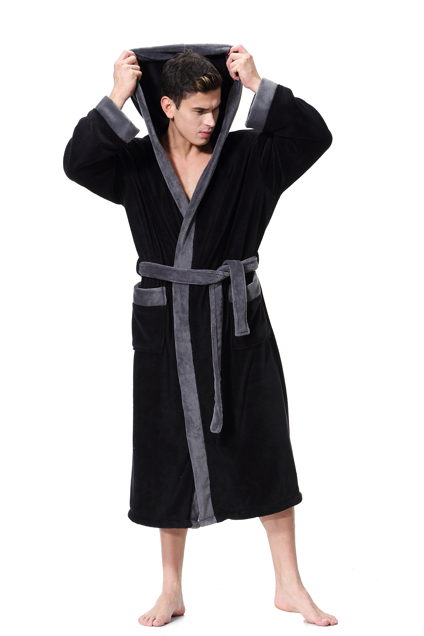 OUFANG Black Bathrobe Soft spa Kimono Shawl Collar Hooded Long Robe Unisex (Medium)