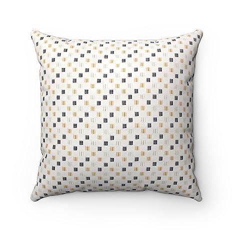 Marroquí lujo funda con textura con diseño Jacquard seda Geometric Pattern Tiles cojín funda de almohada – crema Amarillo Gris – 17