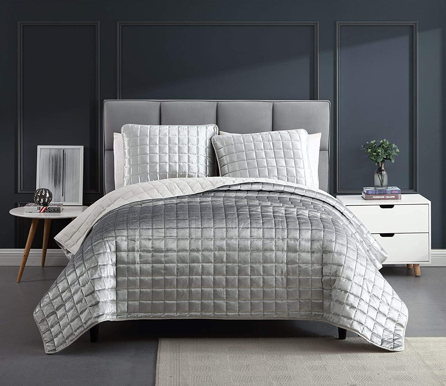 Special price Riverbrook Home - 81896 Lyndon Quilt Set of 3 Silver Max 58% OFF King
