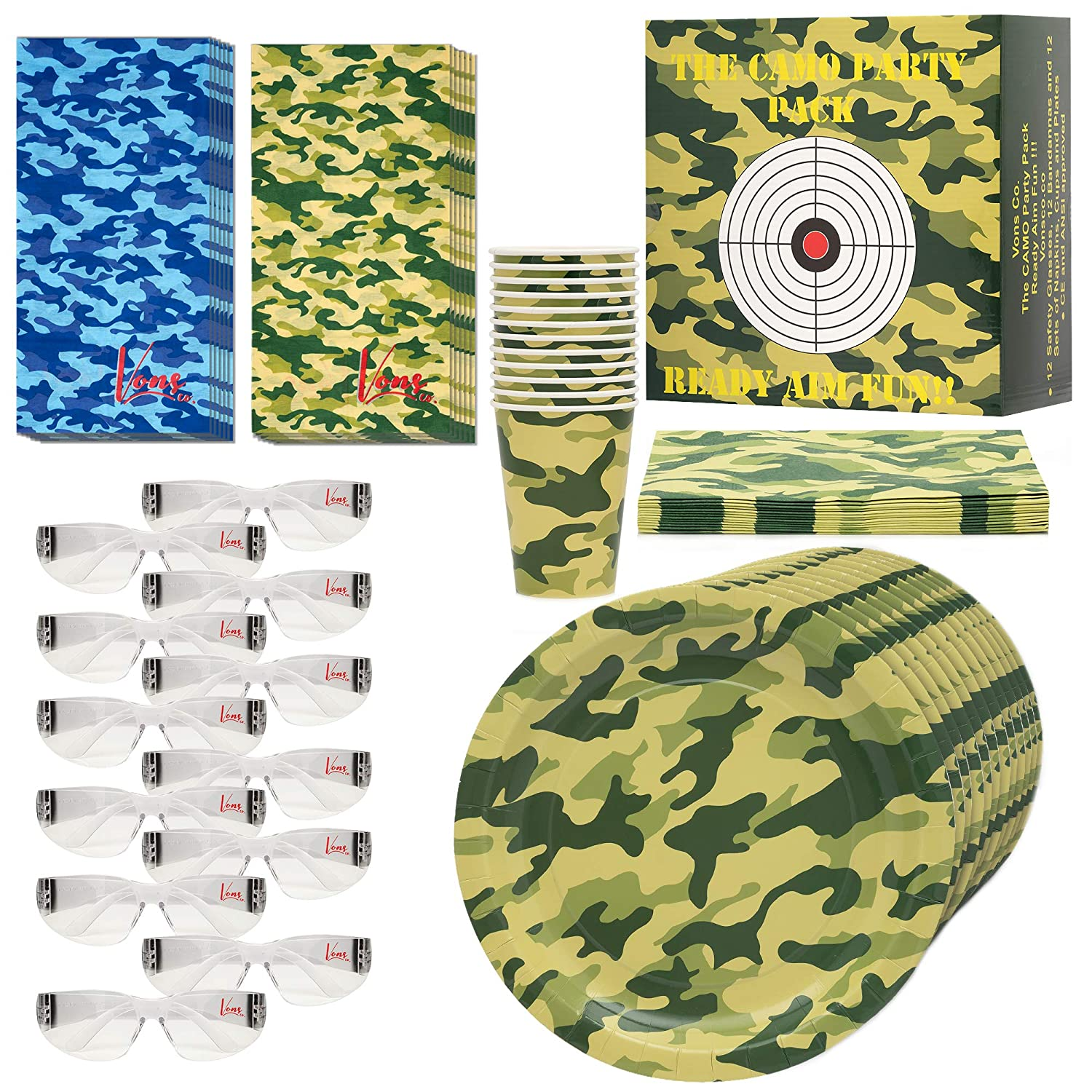Napkins Cups 60 piece - Safety Glasses Target Camouflage Bandanas Nerf Themed Disposable Plates 12 pack Vons co Party Pack For Nerf