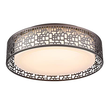 Flush Mount Lighting Fixtures Vicnie 14inch 20w 1400 Lumens Led Round Ceiling Lights 3000k Warm White Oil Rubbed Bronze Finished Metal Body And