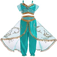 Mooler Girls Princess Jasmine Dress Up Costumes Halloween Party Fancy Dress
