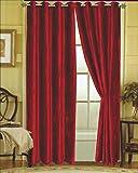 Editex Home Textiles Susane Crushed Velvet Curtain Panel with Grommet, Burgundy, Set of 2