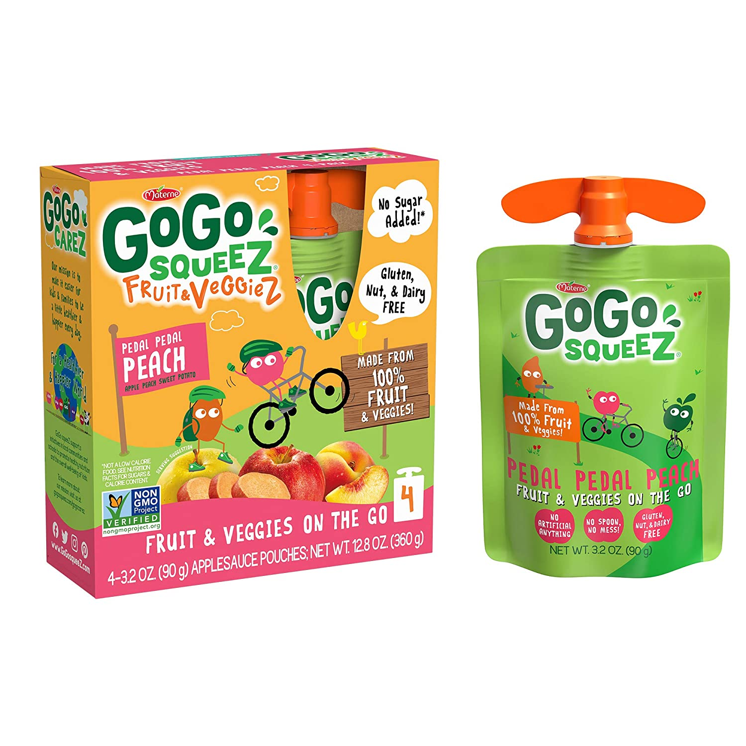 GoGo squeeZ Fruit & VeggieZ on the Go, Apple Peach Sweet Potato, 3.2 Ounce (48 Pouches), Gluten Free, Vegan Friendly, Unsweetened, Recloseable, BPA Free Pouches (Packaging May Vary)