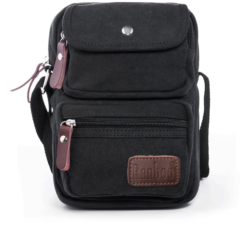 Multifunctional Messenger Bags Shoulder Bag Men's Satchel Small Travel Purse Cross-body Bags Vintage Canvas Work Bag Lightweight Everyday Bag Organizer Outdoor Sports Bag for Hiking Walking Men Black
