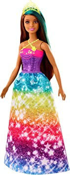 Barbie Dreamtopia Princess Doll, 12-Inch, Brunette with Blue Hairstreak Wearing Rainbow Skirt and Tiara, for 3 to 7 Year Olds