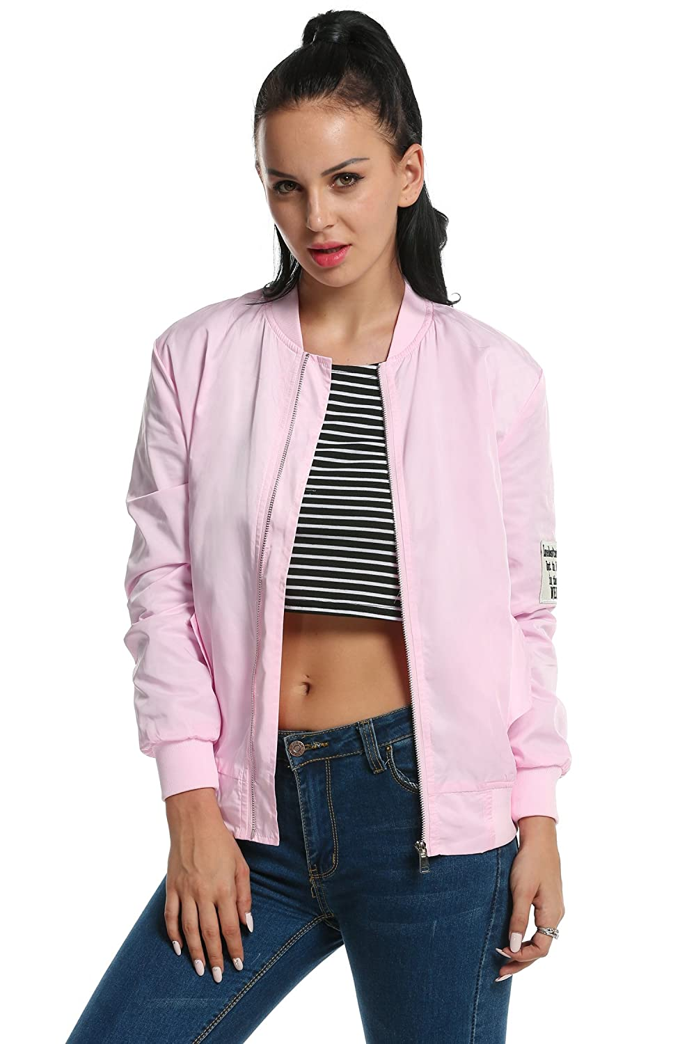 Meaneor Women Classic Quilted Zip UP Jacket Short Bomber Long Sleeve Jacket Coat AMH005255#