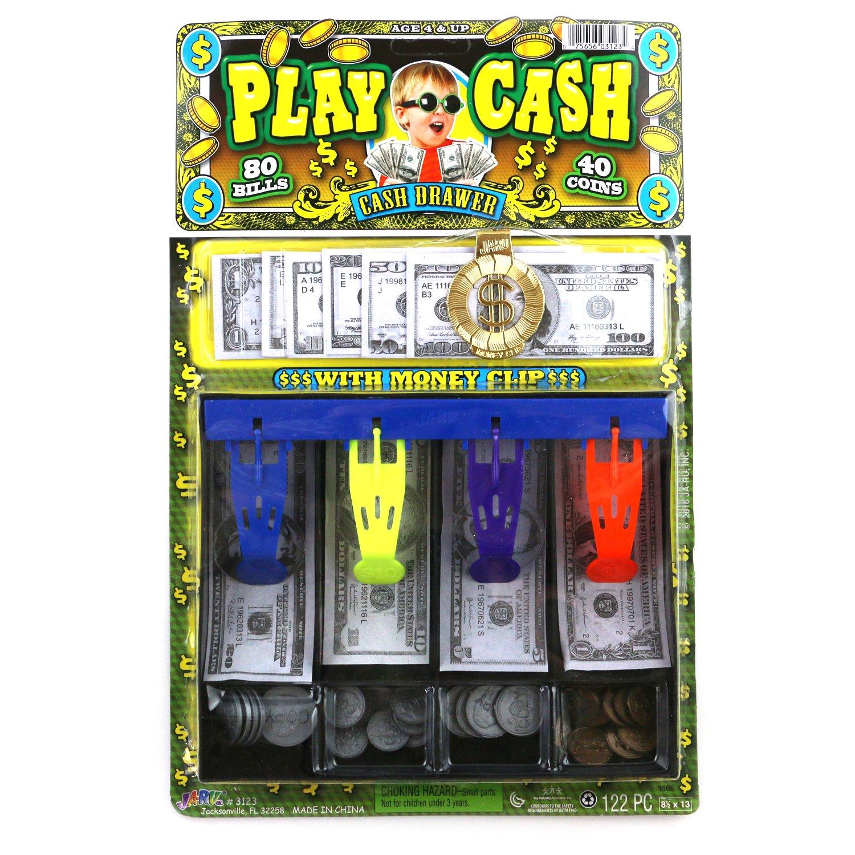 Amazoncom Play Money Fake Cash Register Drawer Bank For Kids