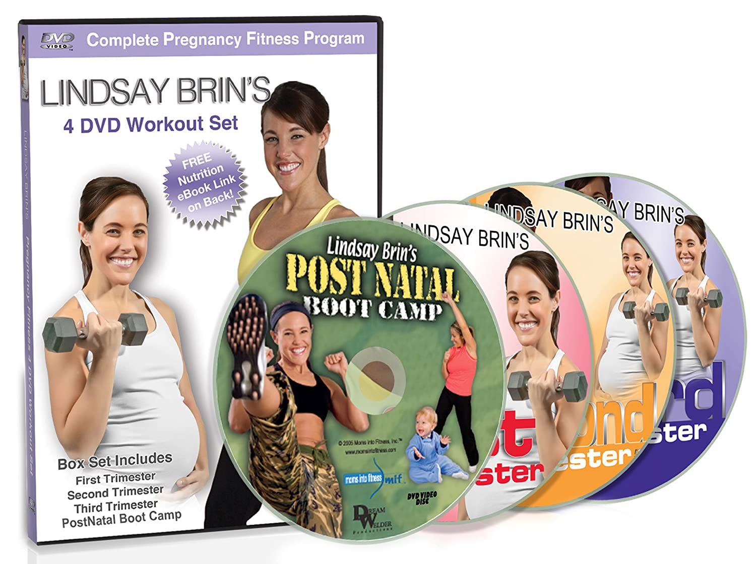 Amazon Lindsay Brins Complete Pregnancy 4 DVD Workout Set Cardio Toning PLUS Yoga Moms Into Fitness Series Brin Movies TV