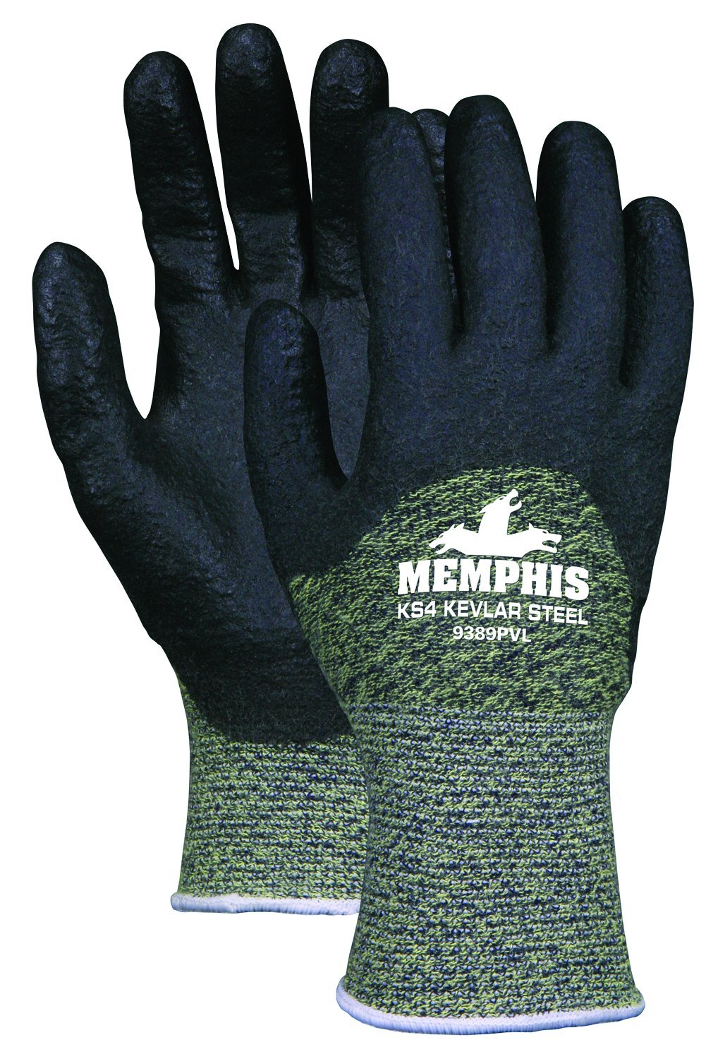 MCR Safety 9389PVXXL KS-4 Kevlar/Stainless Steel 13 Gauge Gloves with PVC Dip Palm and Fingers, Black, 2X-Large, 1-Pair