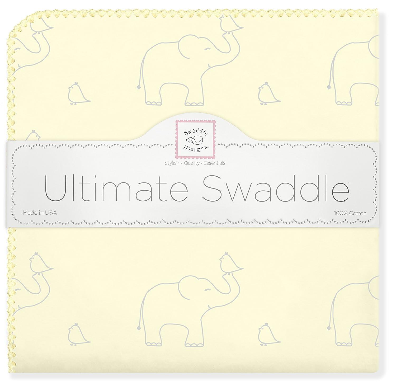 Elefantes plata sobre color pastel deslavado deco SwaddleDesigns Manta Envolvente Ultimate Franela de Algod/ón de calidad superior Amarillo claro