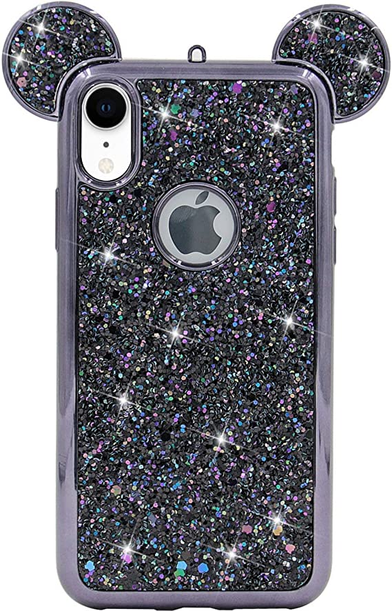 Amazon Com Iphone Xr Case Mc Fashion Cute Sparkly Bling Glitter 3d Mickey Mouse Ears Soft Tpu Rubber Case Teens Girls Women For Apple Iphone Xr 2018 6 1 Inch Black