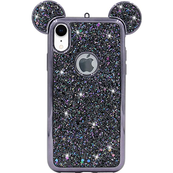 iPhone XR Case, MC Fashion Cute Sparkly Bling Glitter 3D Mickey Mouse Ears  Soft TPU Rubber Case Teens Girls Women for Apple iPhone XR (2018) 6.1,Inch