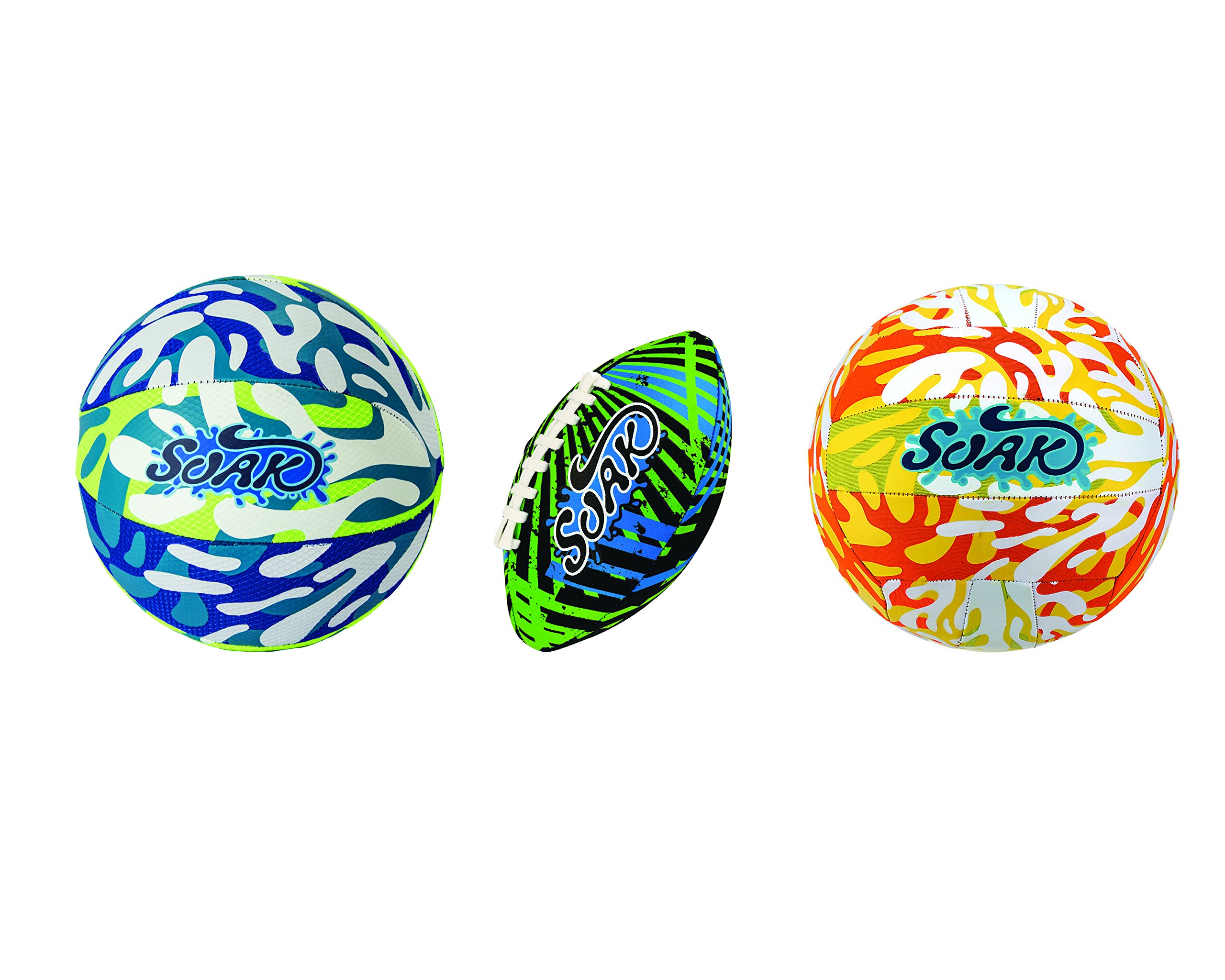 Soak Sport Trilogy Set - Outdoor Summer Sport Package includes an Inflatable Basketball, a Football and a Volleyball - Hand pump - by