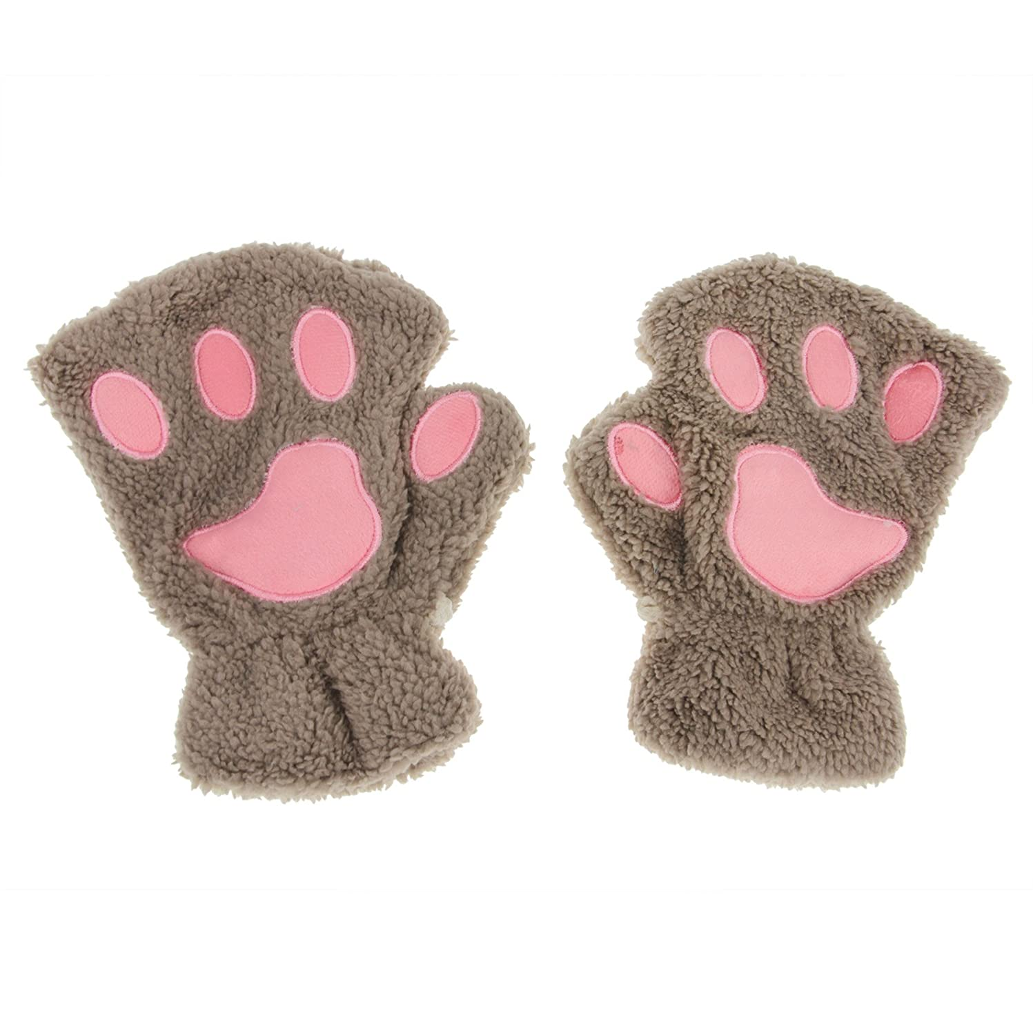 APAS Women Winter Fluffy Bear Cat Plush Paw Claw Glove Half Finger Cute Gloves Mittens CA10-0015-00BE