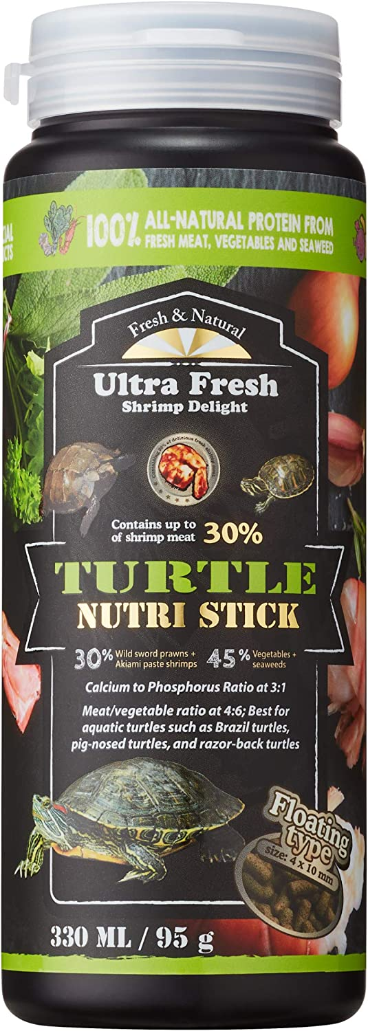 Ultra Fresh - Turtle Nutri Stick, Calcium & Vitamin D-Enriched Aquatic Turtle Food, 100% Natural with Raw Ingredients & Zero Preservatives - Wild Sword