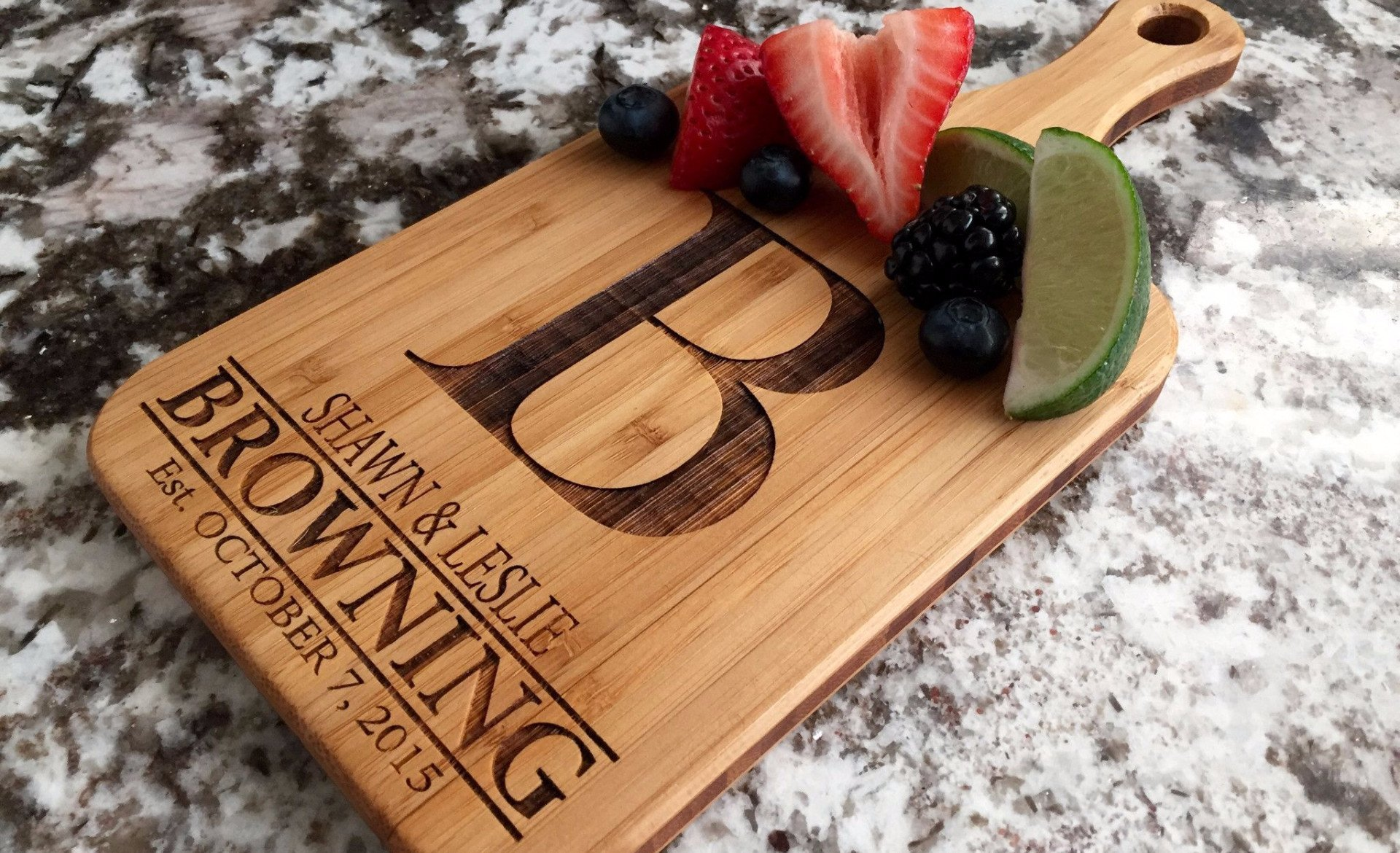 Personalized Wedding Gifts Cutting Board - Wood Cutting Boards, Also Bridal Shower and Housewarming Gifts (5 x 11 Bamboo Paddle Shaped, Browning Design)