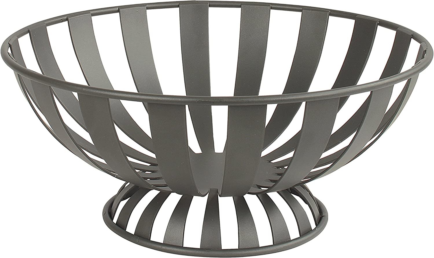 Spectrum Diversified Stripe Bowl, Metal Basket Table & Dining Table Wire Basket & Kitchen Organizer, Kitchen Décor, Countertop Fruit Storage, 1 EA, Industrial Gray