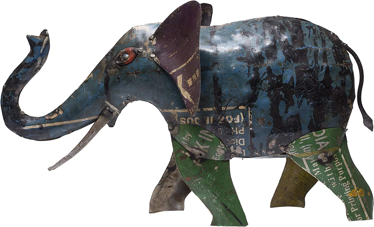 De Kulture Recycled Iron Elephant Figure Showpiece 18x3.5x10 (LWH) for Home Decoration Living Room Ideal for New Year Birthday Easter Gift (Multicolour)