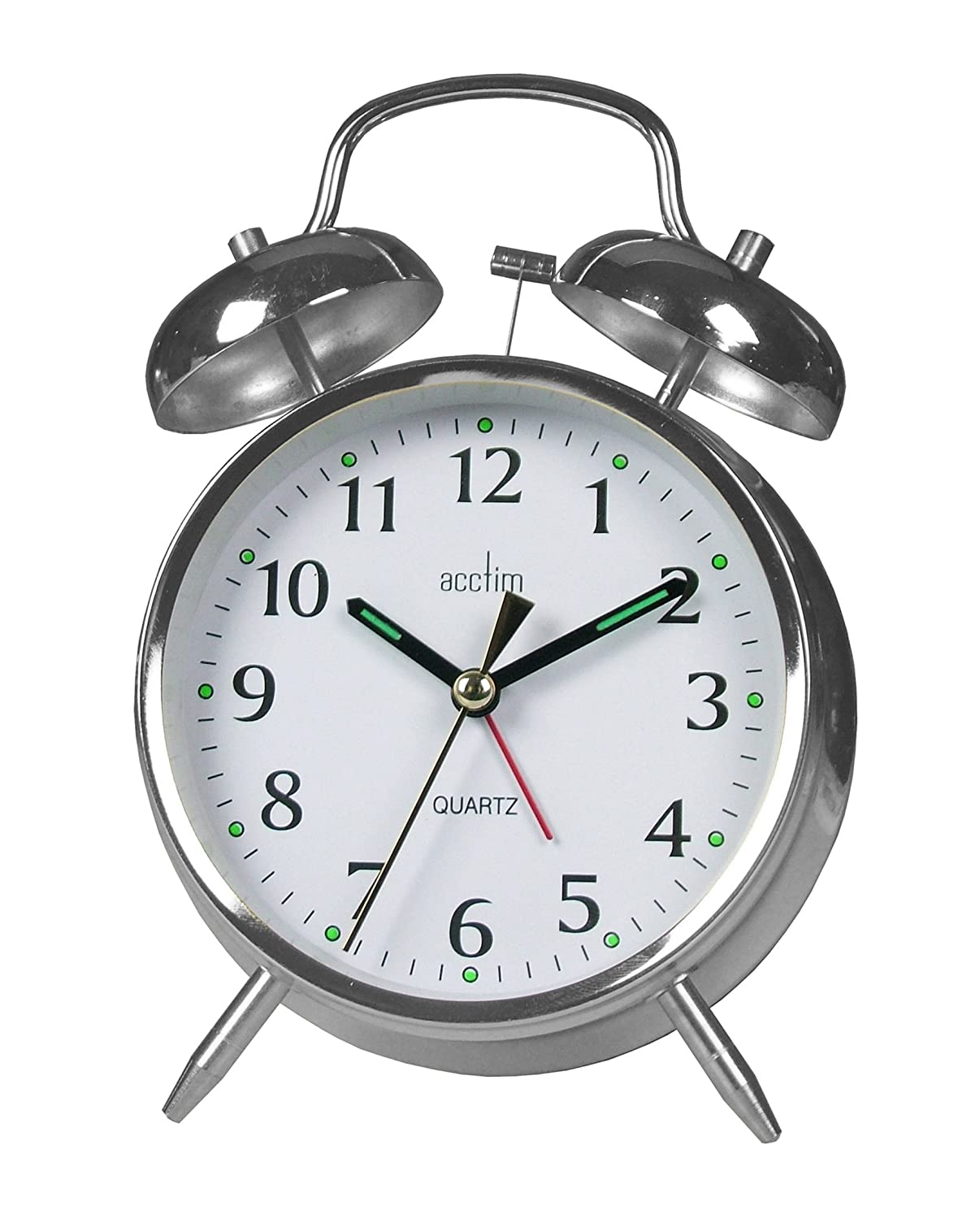 Acctim Traditional Quartz Alarm Clock, Chrome.This is a mechanical wind-up alarm clock which has an old-fashioned tick tock sound