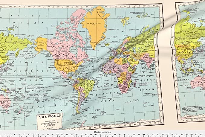 Amazon spoonflower world map fabric world map vintage amazon spoonflower world map fabric world map vintage designed by aftermyart fabric printed by on basic cotton ultra fabric by the yard gumiabroncs Gallery