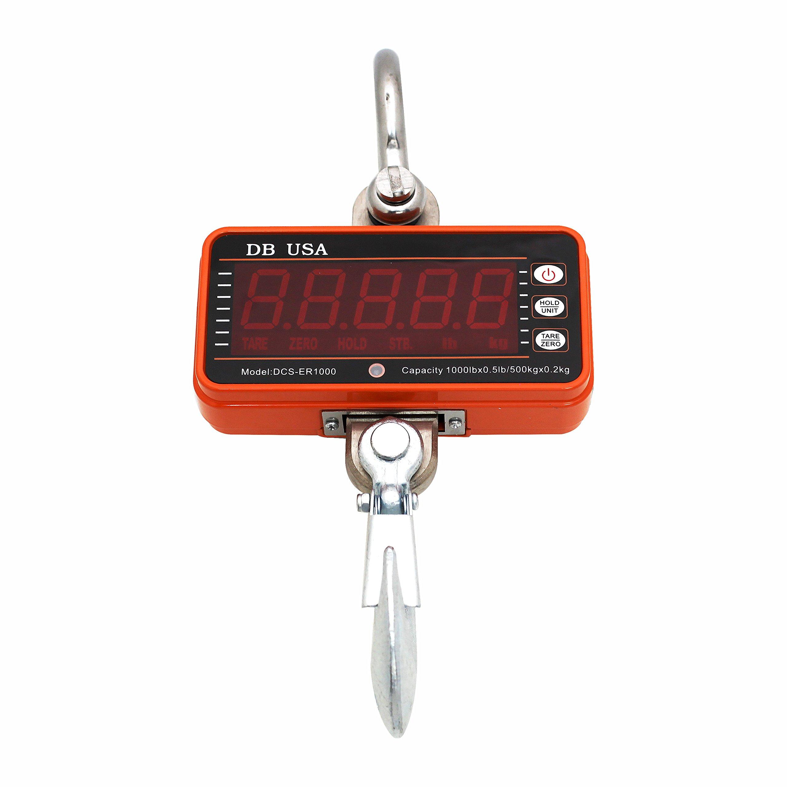 DB USA Digital Crane Scale, DCS-ER1000lb / 500kg High Precision Compact Hanging Scale LED Display