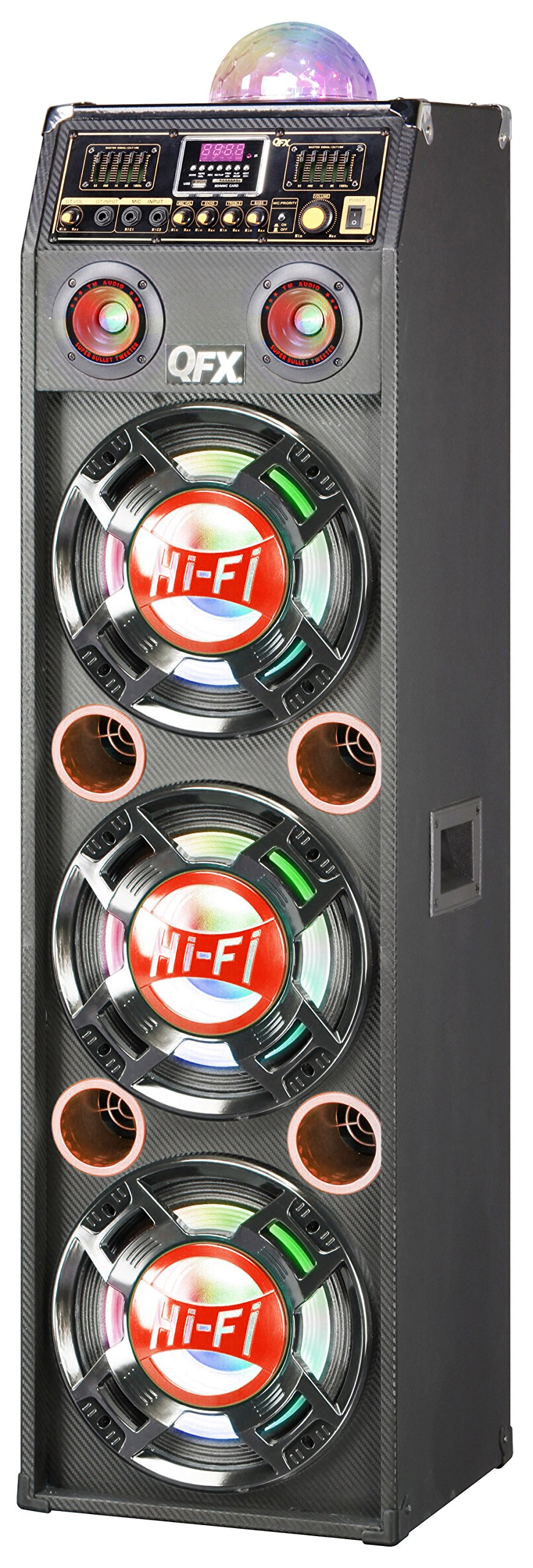 QFX SBX-410306BT-RED Bluetooth Cabinet Speaker with Built-In Amplifier