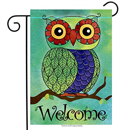 welcome owl springsummer garden flag vertical double sided spring summer decorative rustic - Small Garden Flags