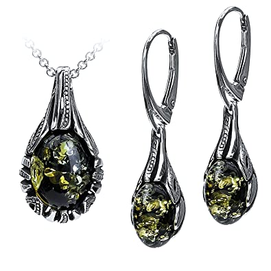 119a208e8 Image Unavailable. Image not available for. Color: Sterling Silver Green Amber  Drop Earrings ...