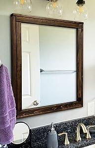 Sydney Rustic Mirror - Vanity Mirror, Bathroom Mirror, Farmhouse Decor, Wood Mirror, Large Mirror - 3 Sizes & 20 Colors - Dark Walnut
