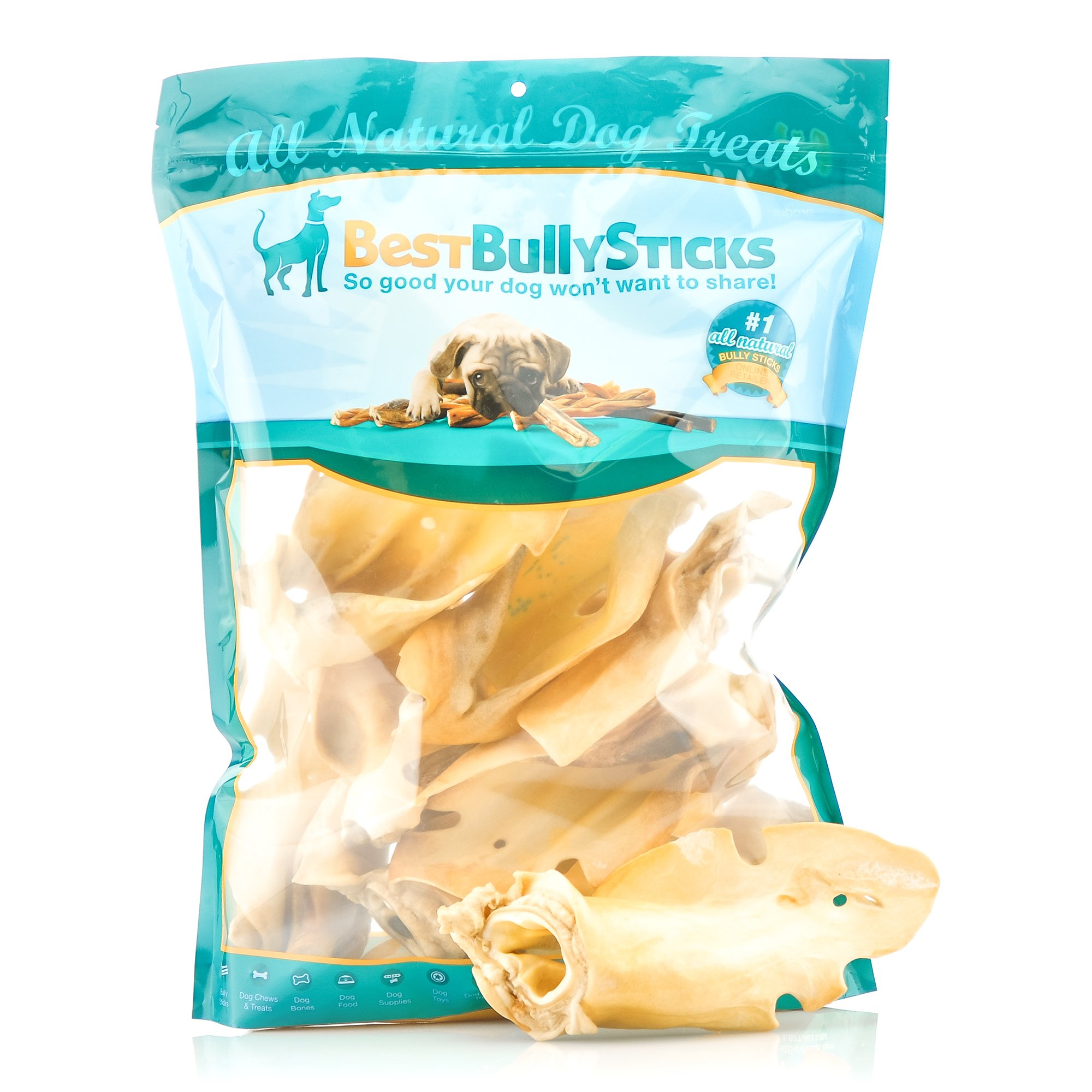 Best Bully Sticks Prime Thick-Cut Cow Ear Dog Chews by (12 Pack) Sourced From All Natural, Free Range Grass Fed Cattle with No Hormones, Additives or Chemicals - Hand-Inspected and USDA/FDA Approved by Best Bully Sticks (Image #1)