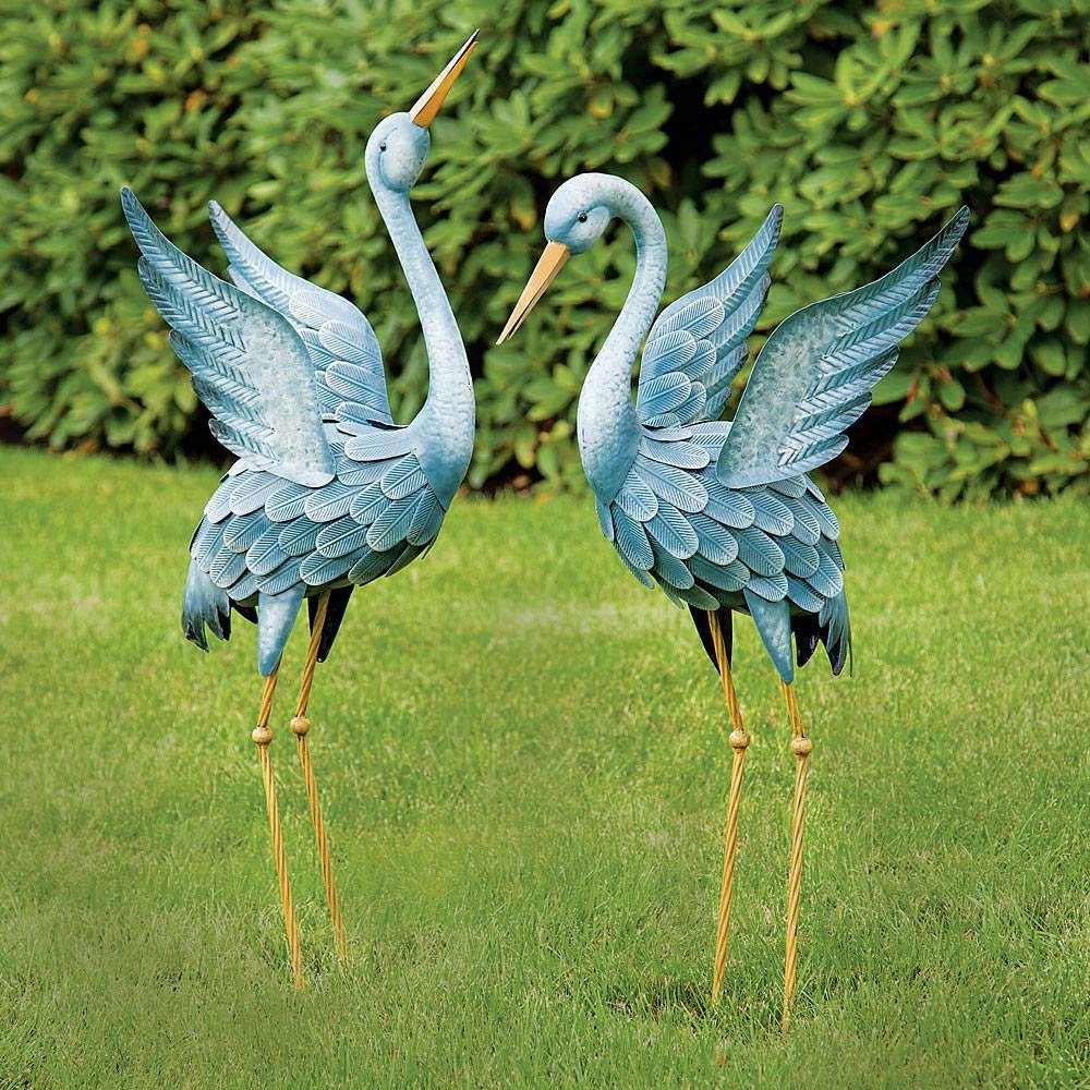 Amazon.com : Blue Japanese Heron Statue-metal Garden Sculpture ...