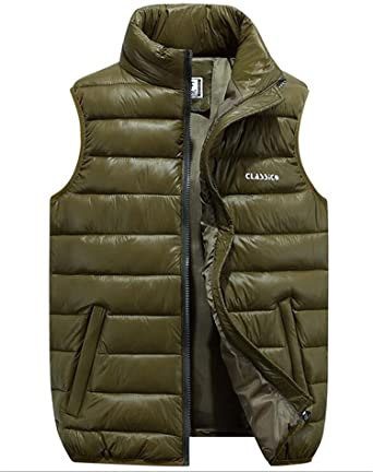 uygmxdnxg Chamarra INVIERNO Puffer Chaleco Outerwear Ligero Quilted Puffer Sin mangas Para Hombre Gilets Chaleco Outdoo