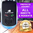 Murpower® Powerful Indoor Plugin Pest Repeller with Night Light - Eliminate All Types of Insects and Rodents - 100% Safe for Humans and Pets Plug-in Pest Repeller (1 Pack, Black)