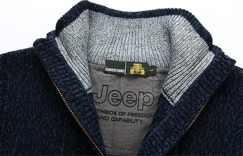 Twcx Mens Classic Warm Knit Zip-Up Stand Collar Winter Sweater Cardigan