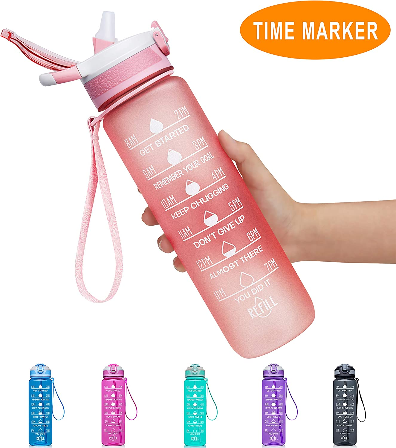 Fidus 32oz Leakproof Tritran BPA Free Water Bottle with Motivational Time Marker to Ensure You Drink Enough Water Daily for Fitness, Gym and Outdoor Sports