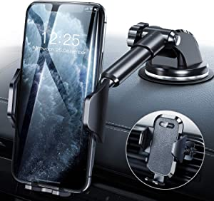 DesertWest Universal Car Phone Mount, Cell Phone Holder for Dashboard Windshield Air Vent, Long Arm Compatible with iPhone 11 Pro Max XR XS X, Samsung Galaxy S20 S10+ S10 S9 Note 10 LG Google More