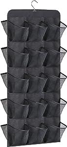 AOODA Hanging Shoe Rack for Closet Rod Double Sided 30 Large Pockets Hanging Shoe Organizer Holder with Rotating Hanger, Black