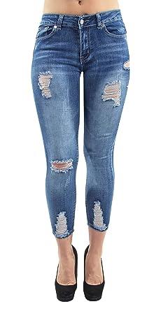 Distressed Rips Women/'s Juniors Butt Lift Mid Waist Push Up Skinny Jeans