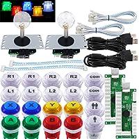 SJ@JX Arcade 2-spelare spelkontroll sticka gör-det-själv-kit LED-knappar med logotyp MX Microswitch 8-vägs joystick USB…