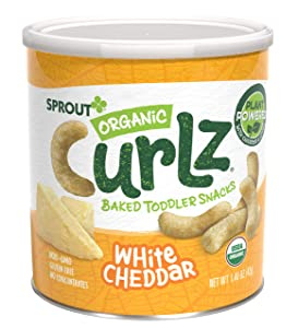 Sprout Organic Curlz Toddler Snacks, White Cheddar, 1.48 Ounce Canister (1 Count) (Packaging May Vary)