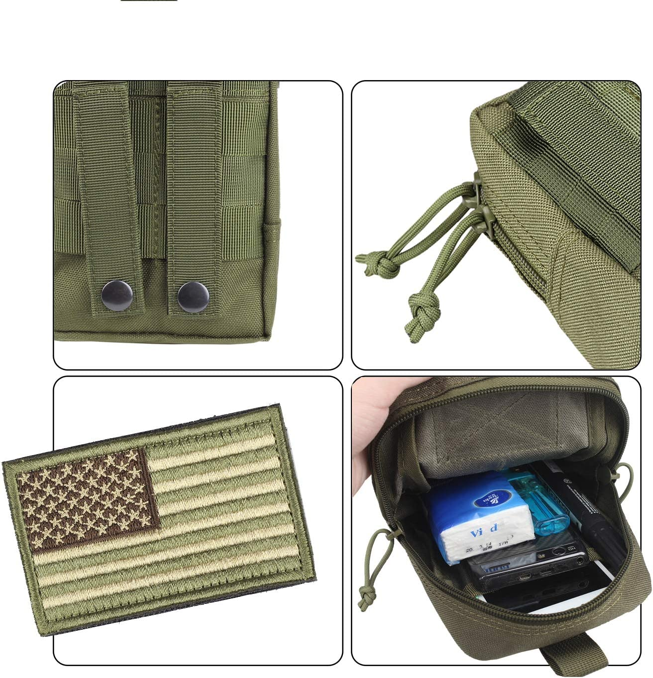 AMYIPO MOLLE Pouch Multi-Purpose Compact Tactical Waist Bags Small Utility Pouch (Green) : Sports & Outdoors