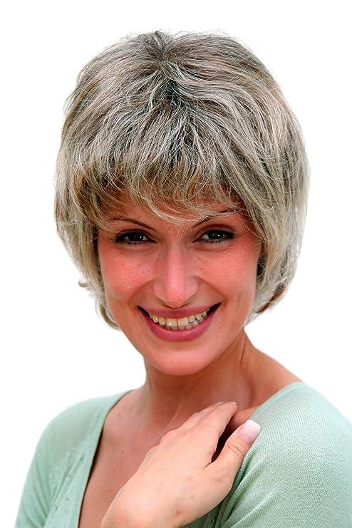 Perruque, coupe courte, gris, femme d'âge
