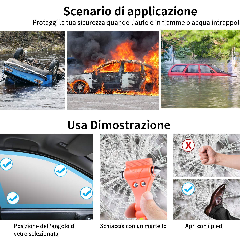 2pz Lveocone Martello di Emergenza Martello di Sicurezza per Auto Martelletto Rompivetro Acciaio per Vetro Auto Taglierino d/'Emergenza per Cinture di Sicurezza con Asciugamano in Microfibra