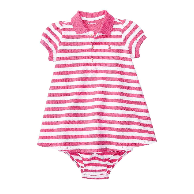 6825a42a3 Amazon.com  Ralph Lauren Baby Girl Striped Polo Dress   Bloomer Set (3  Months