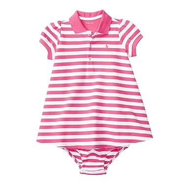 6cb96fe002b06 Amazon.com  Ralph Lauren Baby Girl Striped Polo Dress   Bloomer Set ...