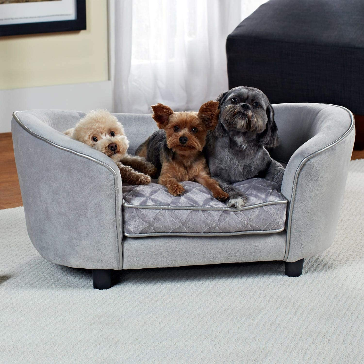 Enchanted Home Pet Quicksilver Pet Sofa Bed, 34 by 3 by 15.5-Inch, Silver : Pet Furniture : Pet Supplies